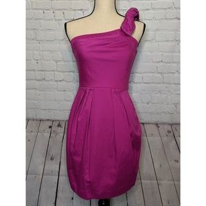 Bisou Bisou Pink One Shoulder Zipper Strap Dress
